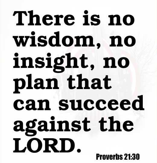 There is no wisdom, no insight, no plan that can succeed against the LORD